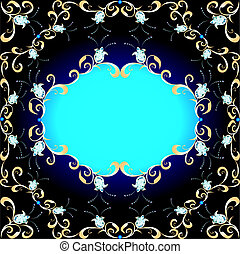 background  ornament of precious stones and gold