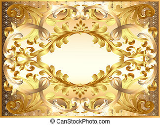 background painting frame, with ornaments of gold -...