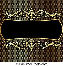 background pattern frame from gild on black background