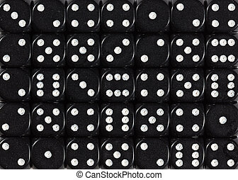 Background pattern of black dices, random ordered