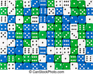 Background pattern of random ordered white, blue and green dices