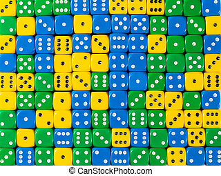 Background pattern of random ordered yellow, green and blue dices