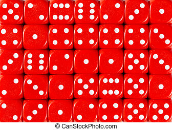 Background pattern of red dices, random ordered
