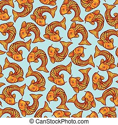Background pattern with a Japanese or Chinese inspired Koi carp fish