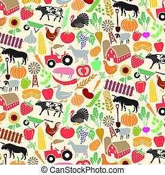 background pattern with agricultural icons (farm, windmill, tractor, cow, chicken, pig, sheep, goat, bull, vegetables, fruits, spade, shovel, fence)