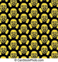 background pattern with army gas mask