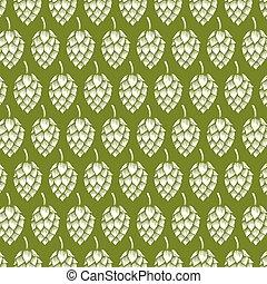 background pattern with beer icons (hops leaf, wooden barrel, glass, bottle cap, mug)