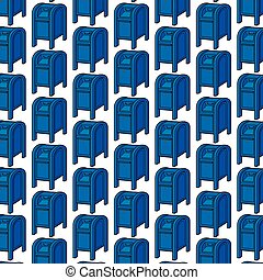 background pattern with blue mail boxes