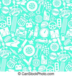 background pattern with car icons (auto and transport elements, tire track, seat belt, mechanic worker, spark plug, engine piston, taxi label, checkered flag, key)