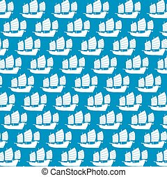 Background pattern with Chinese junk vector illustration (Asian boat)