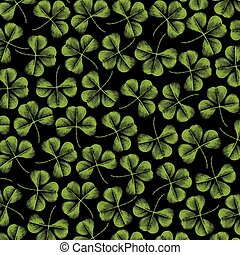 background pattern with clover with three leaf (vintage engraved vector illustration)