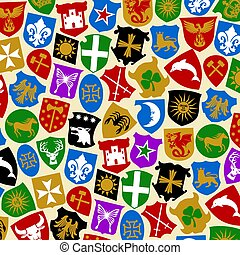 background pattern with coat of arms collection (heraldry design)