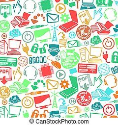 background pattern with computer and communication icons