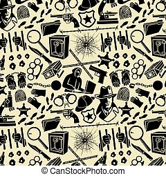 Background pattern with detective icons (Sherlock Holmes hat, hands in handcuffs, revolver, chain with shackle, bullet hole in glass, hacker, microscope, knife, magnifier, blood)