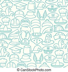 Background pattern with different types of hats icons (cowboy, pirate, baseball cap, gentleman, chef, medical nurse, police officer, beret, magician, safari, hunter)