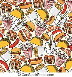 Background pattern with fast food icons: hot dog, pizza, hamburger, sandwich, popcorn, french fries, drumstick, Chinesse food