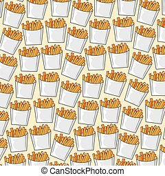 background pattern with french fries in paper box (fast food)