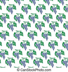 background pattern with  grapes and leaves