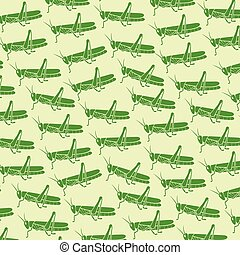 background pattern with green grasshopper vector illustration