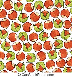 background pattern with hazelnuts