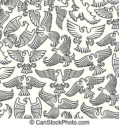 Background pattern with heraldic eagles