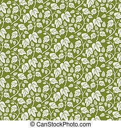 background pattern with hops with leaves (vintage engraved vector illustration)