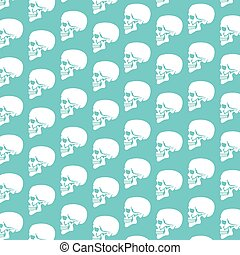 background pattern with human skull profile