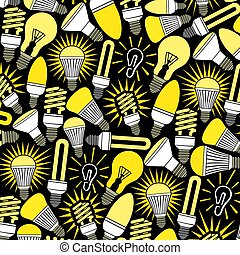 background pattern with light bulbs icons