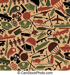 background pattern with military icons: knife, handgun, bomb, bullet, gas mask, swords, helmet, captain hat, explosion, dynamite, tent, machine gun, military beret, aircraft carrier, battleship