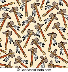 background pattern with native american tomahawk