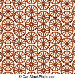 background pattern with old wooden wheels