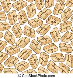 background pattern with parcel box with kraft paper and rope