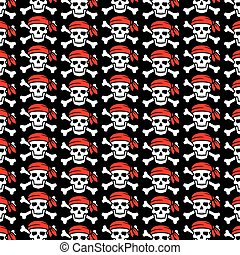 background pattern with pirate skull with red bandana and crossed bones