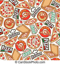 background pattern with pizza design (label, card box, slice...