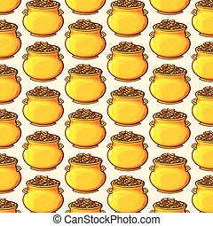 background pattern with pot of gold coins