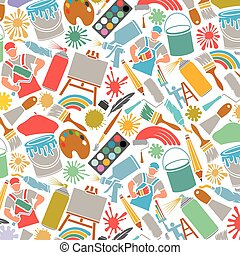 Background pattern with printing icons: palette, printer, CMYK and RGB colors, paintbrush, pipette, monitor, magnifier, plotter, gamma and tool