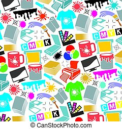Background pattern with printing icons (palette, printer, CMYK and RGB colors, paintbrush, pipette, monitor, magnifier, plotter, gamma and tool)