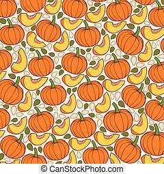 background pattern with pumpkins with slices and seeds vector illustration