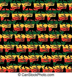 Background pattern with Rastafarian flag with the lion