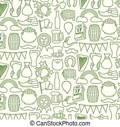 Background pattern with Saint Patrick Day thin line icons