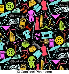 background pattern with sewing and needlework icons