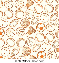 background pattern with sport balls thin line icons (beach, tennis, american football, soccer, volleyball, basketball, baseball, bowling, cricket, badminton)