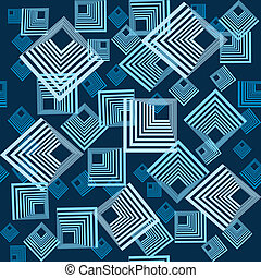 Background pattern with squares in blue tones