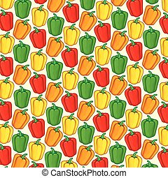 background pattern with sweet bell peppers in green, orange, red and yellow color