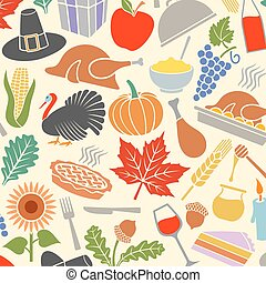 Background pattern with Thanksgiving Day icons