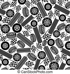 background pattern with tires and checkered flags