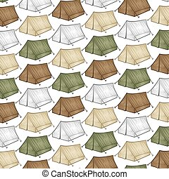 background pattern with tourist tent for travel and camping