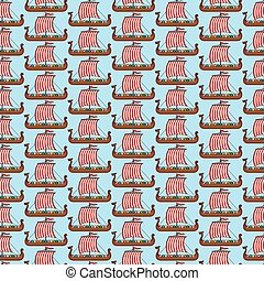 background pattern with viking long ship