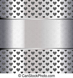 Background perforated shape heart, metallic texture. Vector...