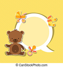 Background photo frame with little cute baby bear.